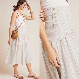 Anthropologie Evonna Striped Pleated Midi Skirt 0